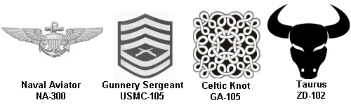 Laser Engraved Standard Graphics Icon Examples