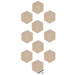 Wood Block Cubes - 1 x 1 x 1. Pack of 10