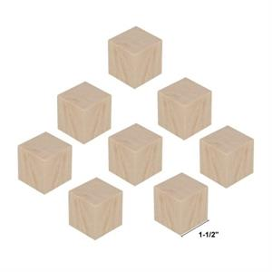 Wood Block Cubes - 1-1/2 x 1-1/2 x 1-1/2. Pack of 8