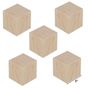 Wood Block Cubes - 2 x 2 x 2. Pack of 5