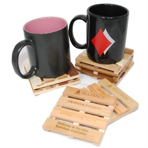 Wood Miniature Cargo Pallet Coasters - Set of 4 with Holder