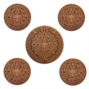 Aztec Calendar Leather Coaster Gift Set with Matching Trivet