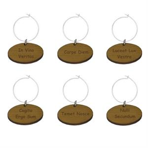 Latin Wine Glass Charms, Set of 6