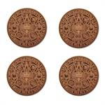 Aztec Calendar Leather Coasters, Set of 4