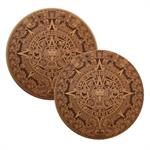 Aztec Calendar Leather Bottle Trivets, Set of 2
